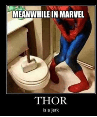 Memes, Thor, and 🤖: MEANWHILE IN MARVEL  THOR  is a jerk Meanwhile jerk lol thor