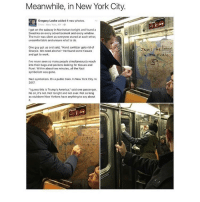 "this is great: Meanwhile, in New York City.  3 hrs New York, NY  Igot on the subway in Manhattan tonight and found a  Swastika on every advertisement and every window.  The train was silent as everyone stared at each other,  uncomfortable and unsure what to do.  One guy got up and said, ""Hand sanitizer gets rid of  Sharpie. We need alcohol"" He found some tissues  and got to work.  I've never seen so many people simultaneously reach  into their bags and pockets looking for tissues and  Purel. Within about two minutes, all the Nazi  symbolism was gone.  Nazi symbolism. On a public train. In New York City. In  2017  ""I guess this is Trump's America,"" said one passenger.  No sir, it's not. Not tonight and not ever. Not as long  as stubborn New Yorkers have anything to say about  the oven this is great"