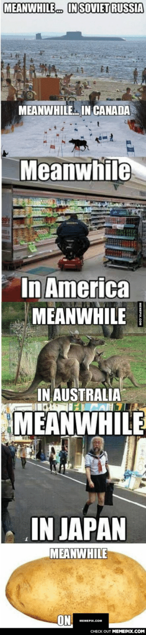 Meanwhile…omg-humor.tumblr.com: MEANWHILE  IN SOVIET RUSSIA  MEANWHILE IN CANADA  Meanwhile  In America  MEANWHILE  IN AUSTRALIA  MEANWHILE  IN JAPAN  MEANWHILE  ON  МЕМЕРIХ.COм  CHECK OUT MEMEPIX.COM Meanwhile…omg-humor.tumblr.com
