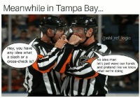 Logic, Memes, and National Hockey League (NHL): Meanwhile in Tampa Bay.  @nhl_ref_logic  Hey, you have  any idea what  a slash or a  cross-check is?  No idea man  let's just wave our hands  and pretend like we know  what we're doing The refs in every game this post season have been really special
