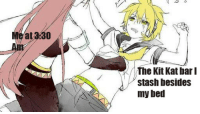 Anime, Irl, and Anime_irl: Meat 330  The Kit Kat bar I  stash besides  my bed anime_irl