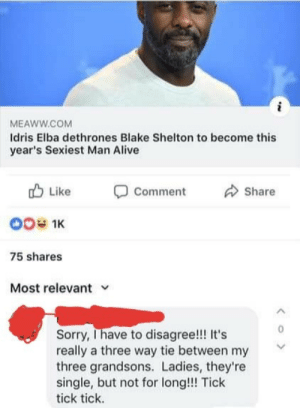 awesomacious:  Hurry up ladies: MEAWW.COM  Idris Elba dethrones Blake Shelton to become this  year's Sexiest Man Alive  Like  Comment  Share  00 1K  75 shares  Most relevant  Sorry, Ihave to disagree!! It's  really a three way tie between my  three grandsons. Ladies, they're  single, but not for long!!! Tick  tick tick.  < o > awesomacious:  Hurry up ladies
