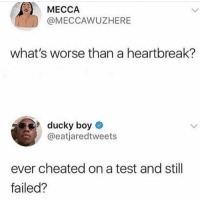 Funny, Test, and Sad: MECCA  @MECCAWUZHERE  what's worse than a heartbreak?  9ducky boy  @eatjaredtweets  ever cheated on a test and still  failed? Yes. It was sad. Sad times.