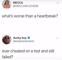 Test, Boy, and Mecca: MECCA  @MECCAWUZHERE  what's worse than a heartbreak?  ducky boy  @eatjaredtweets  ever cheated on a test and still  failed? :(