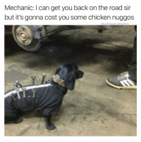 Chicken, Mechanic, and Dank Memes: Mechanic: I can get you back on the road sir  but it's gonna cost you some chicken nuggos  @cabbagecatmemes 2 nuggos plz @doglimited
