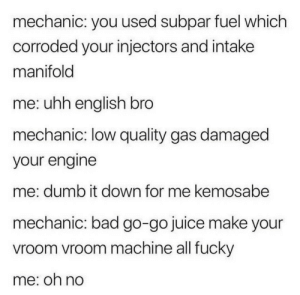 meirl: mechanic: you used subpar fuel which  corroded your injectors and intake  manifold  me: uhh english bro  mechanic: low quality gas damaged  your engine  me: dumb it down for me kemosabe  mechanic: bad go-go juice make your  vroom vroom machine all fucky  me: on no meirl