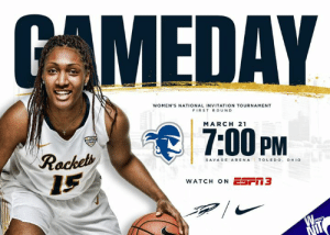 Basketball, Memes, and Radio: MEDAY  WOMEN'S NATIONAL INVITATION TOURNAMENT  FIRST ROUND  MARCH 21  PM  SAVAGEARENA TOLEDO. OHIO  WATCH ON ESm3 It's GAME DAY - WNIT First Round Women's Basketball vs. Seton Hall 📍 Savage Arena - Toledo, OH ⏰ 7:00 P.M. (ET) 💻 utrockets.com/WNIT 🎟 utrockets.com/WBBTix 📺 ESPN3 📻 Rocket Sports Radio Network, 1370 AM & 92.9 FM #ThisIsToledo | #GoRockets