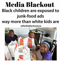 """All by design too.😑 Repost @mediablackoutusa ・・・ The study, which was conducted by researchers at the University of Connecticut's Rudd Center for Food Policy and Obesity and published Thursday in the journal Pediatric Obesity, analyzed Nielsen data from 2008 to 2012 to compare food-ad viewing rates. It found that all children saw more TV and beverage ads in 2012 than in 2008, even though the amount of time kids spend watching TV has basically stayed the same. The analysis also found that black children are exposed to more junk-food advertising than white kids are - as much as 50 percent more, in fact, among teens.That finding was consistent with prior research. But while researchers have long assumed the disparity sprung from the fact that black kids watch more television, this study suggests that the gap also has a great deal to do with the types of television black kids watch - and marketers' ability to target them on those specific networks.Compared to their white peers, black children spend far more time watching """"youth-targeted"""" and """"black-targeted"""" networks, such as Fuse, Nick-at-Nite, BET and VH1. These are also the networks, researchers found, that air the most food advertisements.Frances Fleming-Milici, a marketing researcher at the Rudd Center and the lead author on the new report, does not believe that is a coincidence. """"Determining the intentions of [food] companies is challenging,"""" she said. """"But we use the same data that companies use to place their ads. Ads are placed to reach a certain demographic.""""An analysis of Nickelodeon programming in the summer of 2015 found that 65 percent of the food ads shown in a 28-hour period were for """"foods of poor nutritional quality,"""" including Baby Bottle Pops, Fruit Gushers and Frosted Flakes.https:-www.washingtonpost.com-news-wonk-wp-2016-12-15-study-black-children-are-exposed-to-junk-food-ads-way-more-than-white-kids-are-?utm_term=.4e6c7eb642c4 blackhealth blackhealthmatters blackchildren matter blackvegans blackve"""