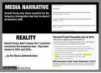 "(K.R.) The recently signed order temporarily barring people from several terror connected countries from entering the U.S. has become the subject of so much confusion, false narratives, propaganda, and just plain fake news that we've decided to run a series looking into the claims.  MEDIA NARRATIVE: The 7 nations in Donald Trump's executive order on immigration were chosen by Trump specifically because he had no business interests in them.  REALITY:  The 7 nations mentioned by the media (Iraq, Syria, Iran, Sudan, Libya, Somalia, and Yemen) aren't even listed in Trump's executive order.  Instead, the order simply says ""countries referred to"" in a law written by the Obama Administration in 2015 and 2016.  The Department of Homeland Security under President Obama, pursuant to the ""Terrorist Travel Prevention Act of 2015"", banned residents and people who'd traveled to 7 terror prone countries from entering to the United States under the Visa Waiver Program.  The Visa Waiver Program (VWP) allows citizens of specific countries to travel to the U.S. for up to 90 days without having to obtain a visa.  Considering these 7 countries were chosen by the Obama Administration, saying Trump chose them based on his business interests is highly dubious, misleading, and likely intended to impugn his motivations, a sad reflection of the state of the media, especially considering these are mainstream news organization making the claim.  SOURCES:  https://www.dhs.gov/news/2016/02/18/dhs-announces-further-travel-restrictions-visa-waiver-program http://www.nydailynews.com/news/politics/trump-muslim-ban-excludes-countries-linked-businesses-article-1.2957956 https://www.bloomberg.com/graphics/2017-trump-immigration-ban-conflict-of-interest/ http://fortune.com/2017/01/27/donald-trump-muslim-immigration-ban-conflict/ https://assets.documentcloud.org/documents/3431047/Extreme-Vetting-EO.pdf: MEDIA NARRATIVE  Donald Trump only chose countries for the  temporary immigration ban that he doesn't  do business with  REALITY  Donald Trump didn't choose the 7 countries  covered by the temporary ban. They were  chosen in 2015 and 2016...  by the Obama Administration.  Unbiased America  About 2,000,000 results  Top stories  Trump's Muslim ban excludes countries linked to his businesses  New York Daily News 2hours ago  Trump's Immigration Ban Excludes Countries With Business Ties  Bioomberg dar ago  Trump's immigration Ban Doesn't Include Countries with Business Links  Fortune 1 day ago  More for trump muslim ban butiness interests  Terrorist Travel Prevention Act of 2015  What are the new  requirements forwPtravel?  Under the Act, travelers in the following categories are no longer eligible to  travel or be admitted tothe United States under the VWP:  Nationals of WPP countries who have been present in lraq,Syria, or  countries listed underspecified designation lists currently including ran  and Sudan) at any time on or after March 1.2011 (with limited  government/military exceptions).  NationalsofwwP countries who have been presentin Iraq, Syria, Iran,  Sudan, at any time on or after March 1,2011 (with limited  government military exceptions)  DHS Announces Further Travel Restrictions 2/18/16  WASHINGTON-The Department Homeland soday announced that tis  connung implementation (K.R.) The recently signed order temporarily barring people from several terror connected countries from entering the U.S. has become the subject of so much confusion, false narratives, propaganda, and just plain fake news that we've decided to run a series looking into the claims.  MEDIA NARRATIVE: The 7 nations in Donald Trump's executive order on immigration were chosen by Trump specifically because he had no business interests in them.  REALITY:  The 7 nations mentioned by the media (Iraq, Syria, Iran, Sudan, Libya, Somalia, and Yemen) aren't even listed in Trump's executive order.  Instead, the order simply says ""countries referred to"" in a law written by the Obama Administration in 2015 and 2016.  The Department of Homeland Security under President Obama, pursuant to the ""Terrorist Travel Prevention Act of 2015"", banned residents and people who'd traveled to 7 terror prone countries from entering to the United States under the Visa Waiver Program.  The Visa Waiver Program (VWP) allows citizens of specific countries to travel to the U.S. for up to 90 days without having to obtain a visa.  Considering these 7 countries were chosen by the Obama Administration, saying Trump chose them based on his business interests is highly dubious, misleading, and likely intended to impugn his motivations, a sad reflection of the state of the media, especially considering these are mainstream news organization making the claim.  SOURCES:  https://www.dhs.gov/news/2016/02/18/dhs-announces-further-travel-restrictions-visa-waiver-program http://www.nydailynews.com/news/politics/trump-muslim-ban-excludes-countries-linked-businesses-article-1.2957956 https://www.bloomberg.com/graphics/2017-trump-immigration-ban-conflict-of-interest/ http://fortune.com/2017/01/27/donald-trump-muslim-immigration-ban-conflict/ https://assets.documentcloud.org/documents/3431047/Extreme-Vetting-EO.pdf"