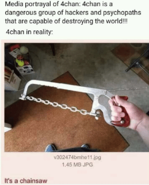 4chan, Dank, and Memes: Media portrayal of 4chan: 4chan is a  dangerous group of hackers and psychopaths  that are capable of destroying the world!!  4chan in reality  v302474bmhe11.jpg  1.45 MB JPG  It's a chainsaw A force to be reckoned with by Viclis MORE MEMES