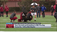 In the rain... Sam Darnold is launching DIMES at his Pro Day! 🎯  📺: @nflnetwork https://t.co/GWECSl9ziV: MEDIA  VOICES OF Rhett Lewis, Curtis Conway, Daniel Jeremiah & Mike Mayock  Sam Darnold participating in USC Pro Day  Ranked No. 1 QB by Mike Mayock In the rain... Sam Darnold is launching DIMES at his Pro Day! 🎯  📺: @nflnetwork https://t.co/GWECSl9ziV
