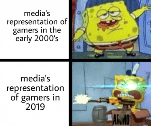 the evolution of gamers: media's  representation of|  gamers in the  early 2000's  media's  representation  of gamers in  2019  ARMO the evolution of gamers