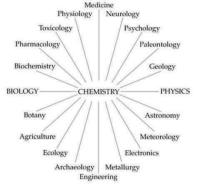 The world is well and truly connected through chemistry.: Medicine  Physiology Neurology  Toxicology  Psychology  Pharmacology  Paleontology  Geology  Biochemistry  BIOLOGY  CHEMISTRY  PHYSICS  Botany  Astronomy  Agriculture  Meteorology  Ecology  Electronics  Archaeology Metallurgy  Engineering The world is well and truly connected through chemistry.