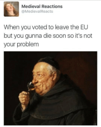 me irl: Medieval Reactions  MedievalReacts  When you voted to leave the EU  but you gunna die soon so it's not  your problem me irl