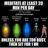 Energy, Memes, and Old: MEDITATE AT LEAST20  MIN PER DAY  COMPOSITE BODY STATES, THAT MAKE  UP THE HUMAN  @4biddenknowledge  State of Subconscious  meditative Manifesting  Mind  Body  Energy Physical  Body Body  bliss  State  UNLESS YOU ARE TOO BUSY,  THEN SIT FOR 1 HR Try to meditate 20 minutes per day. If you are too busy, then meditate for one hour. Old Zen Adage. 4biddenknowledge There are levels to this.