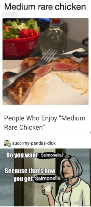 "Hmmmmm🤔: Medium rare chicken  People Who Enjoy ""Medium  Rare Chicken""  succ-my-pandas-dick  Doyou Wwant Salmonella?  Because that's how  you get Salmonella Hmmmmm🤔"
