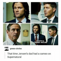 Dad, Memes, and Angel: MEE  RO  by  BNSBN A  green-circles  That time Jensen's dad had a cameo on  Supernatural supernatural Cw supernaturalcw dean cas castiel sam sammy samwinchester deanwinchester bobbysinger angel demon demons monsters supernaturalvideo video destiel jared jensen misha jaredpadalecki mishacollins jensenackles