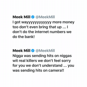 Meek Mill responds to #Tekashi69 for what he said on IG live 👀😳 @meekmill https://t.co/dD3nUN4ZGl: Meek Mill responds to #Tekashi69 for what he said on IG live 👀😳 @meekmill https://t.co/dD3nUN4ZGl
