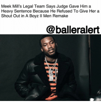 "Jail, Meek Mill, and Memes: Meek Mill's Legal Team Says Judge Gave Him a  Heavy Sentence Because He Refused To Give Her a  Shout Out in A Boyz ll Men Remake  @balleralert Meek Mill's Legal Team Says Judge Gave Him a Heavy Sentence Because He Refused To Give Her a Shout Out in A Boyz II Men Remake – blogged by @MsJennyb ⠀⠀⠀⠀⠀⠀⠀ ⠀⠀⠀⠀⠀⠀⠀ Earlier this week, MeekMill was sentenced to 2 to 4 years behind bars for violating probation, again. Despite the judge's 10-year history with the rapper and several previous easy breaks, many believe the sentence was harsh and heavy-handed. In fact, the rapper's legal team says the judge has a vendetta against him. ⠀⠀⠀⠀⠀⠀⠀ ⠀⠀⠀⠀⠀⠀⠀ According to TMZ, Meek's attorney, Joe Tacopina, says the judge passed down the heavy sentence even after prosecutors recommended no jail time because of her own personal issues with the rapper. Tacopina says the two are from the same part of Philly and know some of the same people, the publication reports. ⠀⠀⠀⠀⠀⠀⠀ ⠀⠀⠀⠀⠀⠀⠀ Tacopina cited an incident from last year, when the judge asked the rapper to do a remake of Boyz II Men's, ""On Bended Knee,"" and give her a shout-out. According to the attorney, Meek thought the judge was joking, but she said ""I'm not kidding,"" and when he refused, she said, ""Okay, suit yourself."" Since then, Tacopina believes she has had it out for him, which explains the heavy sentence. ⠀⠀⠀⠀⠀⠀⠀ ⠀⠀⠀⠀⠀⠀⠀ As a result, Meek's legal team says they plan to appeal the sentence."