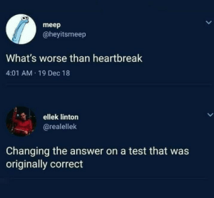 very accurate: meep  @heyitsmeep  What's worse than heartbreak  4:01 AM 19 Dec 18  ellek linton  LL  @realellek  Changing the answer on a test that was  originally correct very accurate
