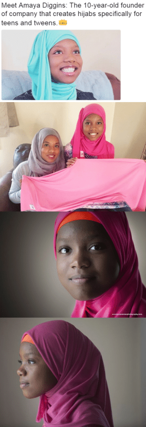 Click, I Bet, and Tumblr: Meet Amaya Diggins: The 10-year-old founder  of company that creates hijabs specifically for  teens and tweens.... cartnsncreal:  MEET AMAYA Diggins, the 10-year-old founder of Hijabi Fits, a company that creates hijabs specifically for teens and tweens. When Amaya started wearing hijab last summer, her mother bought her some new scarves but Amaya didn't like any of them. She felt that they were too big, too long, too heavy, or too stuffy because they were made for adult heads. The youngster also thought the colors and designs were too mature for her age. So inspiring!   Amaya hopes to expand the line moving forward. She has so far raised over $7,000, so her dream is even closer to becoming a reality. click here to donate. She is only 10. Her Smile! We do need to start training entrepreneurs earlier, like this wonderful kid. I bet this Black Girl is Magic! yeah I wish her business would grow!  #BlackGirlMagic #BlackExcellence