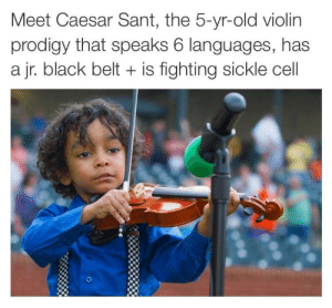 Sickle: Meet Caesar Sant, the 5-yr-old violin  prodigy that speaks 6 languages, has  a jr. black belt + is fighting sickle cell