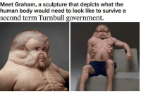 What a great page -Hennezy: Meet Graham, a sculpture that depicts what the  human body would need to look like to survive a  second term Turnbull government. What a great page -Hennezy