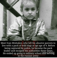 Tge: Meet Ivan Mishukov, who left his abusive parents to  live with a pack of wild dogs at tge age of 4. Before  being captured by police, he became the pack  leader and escaped the authorities three times  He ended up going to military school serving  in the russian army