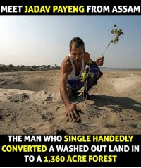 assam: MEET  JADAV PAYENG FROM ASSAM  THE MAN WHO SINGLE HANDEDLY  CONVERTED A WASHED OUT LAND IN  TO A 1,360 ACRE FOREST