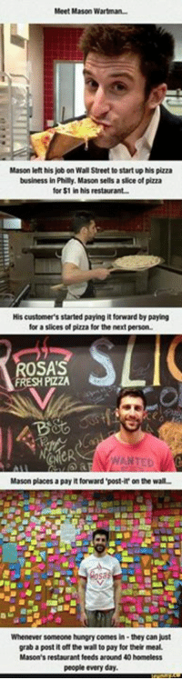 Pay It Forward: Meet Mason Wartman...  Mason left his job on Wall Street to start up his pizza  business in Philly, Mason sells a slice of pizza  for $1 in his restaurant  His customer's started paying it forward by paying  for a slices of pizza for the next person.  OSAS  PizZA  Mason places a payit forward post-it' on the wall-  Whenever someone hungry comes in- they can just  grab a postitoff the wall topay for their meal.  Mason's restaurant feeds around 40 homeless  people every day.