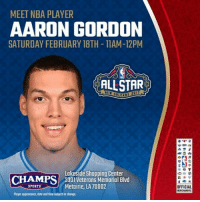 NOLA! Stop by our Lakeside Mall store to meet NBA Dunk Contest challenger @a00g_ today! allstarweekend: MEET NBA PLAYER  AARON GORDON  SATURDAY FEBRUARY 18TH-11AM-12PM  ALLSTAR  Lakeside Shopping Center  CHAMPS  3301 Veterans Memorial Blvd  Metairie, LA70002  Ployer appeomaer, dotr and tine bject to change.  OFFICIAL NOLA! Stop by our Lakeside Mall store to meet NBA Dunk Contest challenger @a00g_ today! allstarweekend