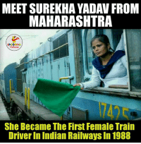 Hats-Off To Surekha Yadav.. (Y): MEET SUREKHA YADAV FROM  MAHARASHTRA  LA GHNG  Colons  She Became The First Female Train  Driver in Indian Railways In 1988 Hats-Off To Surekha Yadav.. (Y)