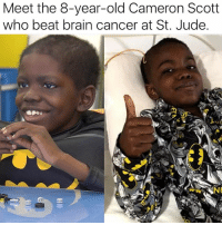 "At-St, Batman, and Children: Meet the 8-year-old Cameron Scott  who beat brain cancer at St. Jude ""Cameron Scott, 8, loves superheroes like Batman who use their brain and strong will in the place of superhuman powers. He has emulated his favorite cartoon character in the last year by showing his own toughness and strength after being diagnosed with a rare form of brain cancer. Cameron is now remarkably cancer-free after being treated at St. Jude Children's Research Hospital. He and his family enjoyed a day in the Florida sunshine at the Legoland Florida Resort in Winter Haven this week following an emotional and grueling year."" via: @moorinformation"