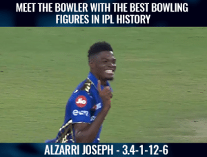 What a bowler he is!  (Pic-Hotstar): MEET THE BOWLER WITH THE BEST BOWLING  FIGURES IN IPL HISTORY  ALZARRI JOSEPH - 3.4-1-12-6 What a bowler he is!  (Pic-Hotstar)