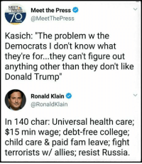 """College, Donald Trump, and Fam: Meet the Press  70  @MeetThePress  Kasich: """"The problem w the  Democrats I don't know what  they're for...they can't figure out  anything other than they don't like  Donald Trump  Ronald Klain  @RonaldKlain  In 140 char: Universal health care;  $15 min wage; debt-free college;  child care & paid fam leave; fight  terrorists w/ allies; resist Russia."""