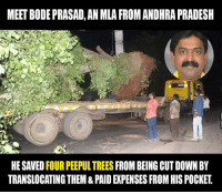 #Respect Bode Prasad: MEETBODEPRASAD, AN MLA FROMANDHRAPRADESH  HESAVED FOUR PEEPULTREES  FROM BEING CUT DOWN BY  TRANSLOCATINGTHEM & PAID EXPENSES FROM HIS POCKET #Respect Bode Prasad