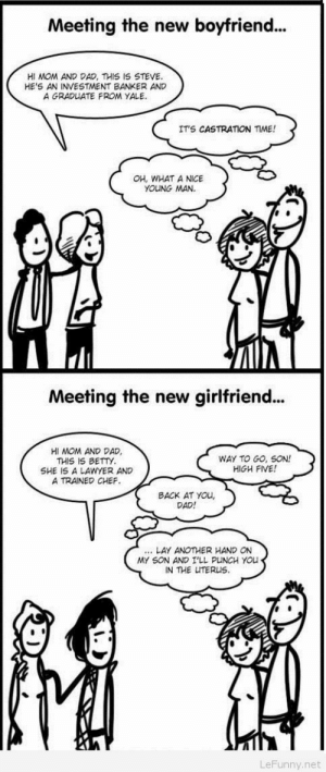 Funny family moments comics: Meeting the new boyfriend..  HI MOM AND DAD, THIS IS STEVE  HE'S AN INVESTMENT BANKER AND  A GRADUATE FROM YALE  IT'S CASTRATION  ME!  OH, WHAT A NICE  YOUNG MAN  Meeting the new girlfriend..  HI MOM AND DAD  THIS IS BETTY  SHE IS A LAWYER AND  A TRAINED CHEF  WAY TO GO, SON!  HIGH FIVE!  BACK AT YOu,  DAD!  LAY ANOTHER HAND ON  MY SON AND I'LL PLINCH YOu  IN THE UTERUS  LeFunny.net Funny family moments comics