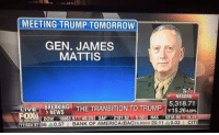 The day he is confirmed as Secretary of Defense, the rest of the world will surrender to us and swear fealty to the United States of America in hopes that he won't destroy their fragile lives and rain hell, death and destruction down upon them!   #MattisForSecDef: MEETING TRUMP TOMORROW  GEN. JAMES  MATTIS  NASDAQ  5,318.71  iTHE TRANSITION TO TRUMP  NEWS  LIVE  15.26029%  FOSA  DOW 18863.57 40.25 S&P 218.62 550 NASZ 51366 115.31  1132A  ET 86  A0.57  BANK OF AMERICA BAC)9.900 20.11A0.03 The day he is confirmed as Secretary of Defense, the rest of the world will surrender to us and swear fealty to the United States of America in hopes that he won't destroy their fragile lives and rain hell, death and destruction down upon them!   #MattisForSecDef