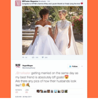 Best Friend, Goals, and Megan: MEFeater Magazine  amefeater 14h  Congrats to OITNB s Samira Wiley and Lauren Morelli on finally tying the knot  64 ta 10K 20K  Vegan Megan  Follow  apickedupfloozy  @mefeater getting married on the same day as  my best friend is absolutely bff goals  Are there any pics of how their husbands look  826 AM 26 Mar 2017 Like, if there's an account dedicated to stuff like this, hmu. -Soph