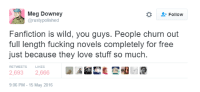 "DeMarcus Cousins, Fanfiction, and Fucking: Meg Downey  @rustypolished  Followw  Fanfiction is wild, you guys. People churn out  full length fucking novels completely for free  just because they love stuff so much.  RETWEETS  LIKES  2,6932,666  9:06 PM-15 May 2016 <p>Fan Fiction via /r/wholesomememes <a href=""http://ift.tt/2lk1BB1"">http://ift.tt/2lk1BB1</a></p>"