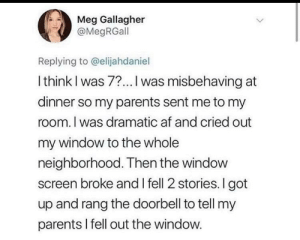 So she fell out, got up and was fine? Seems a little too good.: Meg Gallagher  @MegRGall  Replying to @elijahdaniel  Ithink I was 7?... I was misbehaving at  dinner so my parents sent me to my  room. I was dramatic af and cried out  my window to the whole  neighborhood. Then the window  screen broke and I fell 2 stories. I got  up and rang the doorbell to tell my  parents I fell out the window. So she fell out, got up and was fine? Seems a little too good.