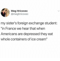 "Memes, France, and Ice Cream: Meg Hricovec  @meghricovec  my sister's foreign exchange student:  ""in France we hear that when  Americans are depressed they eat  whole containers of ice cream"" @whitepeoplehumor always makes me laugh 😂"