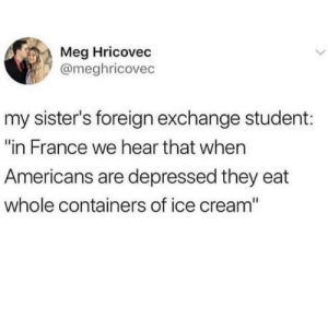 "America, France, and Ice Cream: Meg Hricovec  @meghricovec  my sister's foreign exchange student:  ""in France we hear that when  Americans are depressed they eat  whole containers of ice cream"" america in a nutshell"