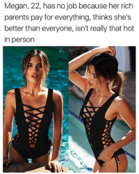 Black Lacenet one-piece from @kittbae 30% OFF with code: CAB30: Megan, 22, has no job because her rich  parents pay for everything, thinks she's  better than everyone, isn't really that hot  in person Black Lacenet one-piece from @kittbae 30% OFF with code: CAB30