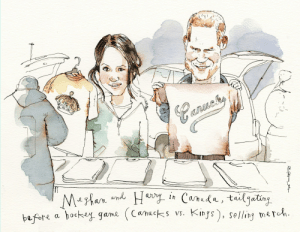 Meghan and Harry Free to Be Themselves, at Long Last - Barry Blitt illustration: Meghan and Harry Free to Be Themselves, at Long Last - Barry Blitt illustration