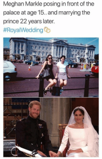 meghan-markle: Meghan Markle posing in front of the  palace at age 15. and marrying the  prince 22 years later.