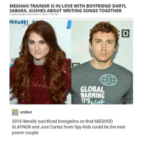 Global Warming, Tattoos, and Tumblr: MEGHAN TRAINORISIN LOVE WITH BOYFRIEND DARYL  SAA BARA, GUSHES ABOUT WRITING SONGS TOGETHER  by Erica Russell December 4, 2016 11:59 AM  GLOBAL  WARMING  IT'S  sridevi  2016 literally sacrificed brangelina so that MEGHOD  SLAYNOR and Juni Cortez from Spy Kids could be the next  power couple Guys I got another tattoo today ~Rochelle🔪