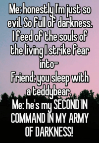 Memes, Army, and Evil: Meghonestlylmiustso  evil,Soful darkness,  IFeed of the souls  thelivinglstrike Fear  into-  Triend youseep with  a teddybear  Me: he's my SECONDIN  COMMAND N MY ARMY  OF DARKNESS!
