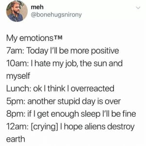 i hate my job: meh  @bonehugsnirony  My emotions TM  7am: Today Il be more positive  10am: I hate my job, the sun and  myself  Lunch: ok I think I overreacted  5pm: another stupid day is over  8pm: if I get enough sleep Ill be fine  12am: [crying] I hope aliens destroy  earth