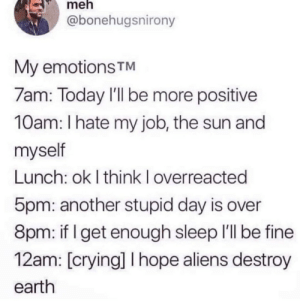 Feeling extremely depressed, so I will post funny things as a coping mechanism: meh  @bonehugsnirony  My emotions TM  7am: Today I'll be more positive  10am: I hate my job, the sun and  myself  Lunch: ok I think I overreacted  5pm: another stupid day is over  8pm: if I get enough sleep I'll be fine  12am: [crying] I hope aliens destroy  earth Feeling extremely depressed, so I will post funny things as a coping mechanism